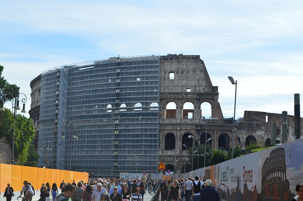 Colosseum Scaffolding Wide Shot
